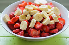 Bananas and strawberries Royalty Free Stock Images