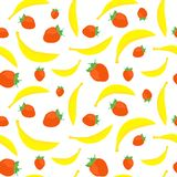 Bananas and strawberries seamless Royalty Free Stock Images