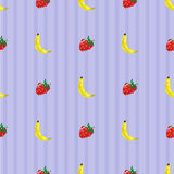 Bananas and strawberries seamless pattern. Seamless pattern with pixel art stylized bananas and strawberries on a simple blue striped background Royalty Free Stock Image