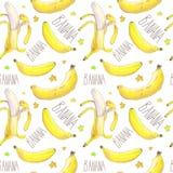 Bananas and text seamless pattern royalty free illustration