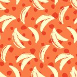 Bananas tropic seamless pattern. 70s, 80s hand drawn funky vector illustration. Contemporary abstract geometric fashion royalty free illustration