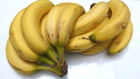 Bananas on white background. Cluster of sweet ripe bananas on a white background. Healthy fruits Sweet fruits. Healthy breakfasts Tropical fruits. Bananas and stock images