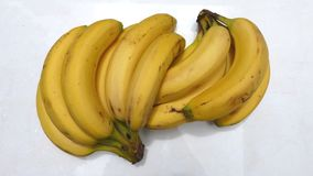 Bananas on white background. Cluster of sweet ripe bananas on a white background. Healthy fruits Sweet fruits. Healthy breakfasts Tropical fruits. Bananas and royalty free stock images