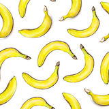 Bananas on white background. Seamless pattern. Watercolor illustration. Tropical fruit. Handwork.  stock illustration