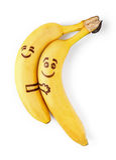 Bananas With Smiley Faces, Couple In Love Concept Stock Photos