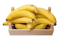 Bananas in wooden case Stock Photos