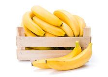 Bananas in wooden crate. Ripe bananas in wooden box. Musa acuminata Royalty Free Stock Photography