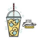 BananDetoxsymbol Smoothie- och fruktsaftdesign som stylized swirlvektorn för bakgrund det dekorativa diagrammet vågr Royaltyfria Foton