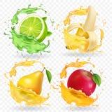 Banane, Apfel, Kalk, realistische Früchte des Birnensafts spritzt, Vektorikonensatz lizenzfreie abbildung