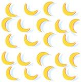 Banane astratte del modello Fondo giallo della luna Fotografia Stock Libera da Diritti