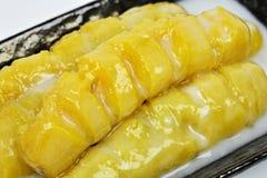Banane bollite con latte di cocco Fotografia Stock Libera da Diritti