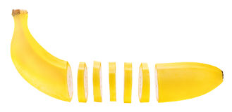 Banane coupée en tranches Images stock