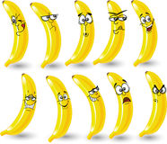 Banane del fumetto con le emozioni Fotografia Stock