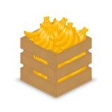 Banane in der hölzernen Kiste Vektor Abbildung