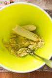 Banane di passata con una forcella fotografie stock libere da diritti