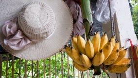 Banane e cappello di estate fotografia stock libera da diritti