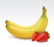 Banane e fragole Fotografia Stock