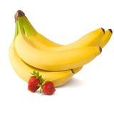 Banane e fragole Fotografie Stock Libere da Diritti