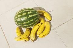 Banane ed anguria gialle sul pavimento fotografia stock
