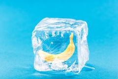 Banane eingefroren innerhalb des Eis-Würfels Stockbild