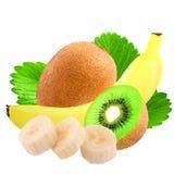 Banane et kiwi d'isolement sur le blanc Photo stock