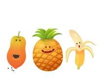 Banane fruit-épluchée mignonne, pomme de pin, papaye Images libres de droits