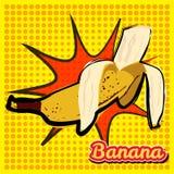Banane gebissen mit einer Punktbeschaffenheit Pop-Arten-Art-Vektorillustration stock abbildung