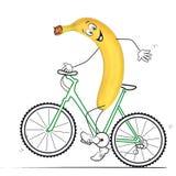 Banane mit Fahrrad Lizenzfreie Stockfotos