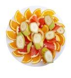 Banane orange et pamplemousse coupés en tranches Photo stock