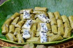 Banane in riso appiccicoso Fotografia Stock