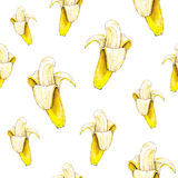 Banane su fondo bianco Reticolo senza giunte Illustrazione dell'acquerello Frutta tropicale Lavoro manuale Fotografie Stock