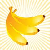 Banane sui fasci gialli frantumati Fotografie Stock Libere da Diritti