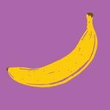 Banane tirée par la main d'isolement de vecteur Photos libres de droits