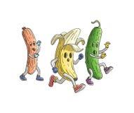 Banane und Gurke laufen gelassen von der Zombiewurst Veggieslauf lizenzfreie abbildung
