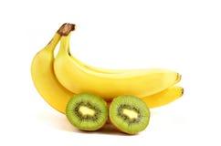 Banane und Kiwi Lizenzfreie Stockfotos
