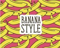 Bananen-Art-Rosa-Illustrations-Muster lizenzfreie abbildung