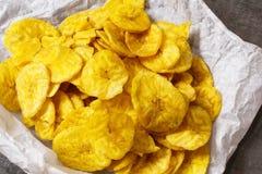Bananen-Bananen-Chips schließen herauf Ansicht Lizenzfreie Stockfotografie