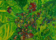 Bananen-Blätter im Blumen-Garten Stockfoto