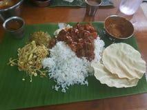 Bananen-Blatt-Inder-Lebensmittel Lizenzfreie Stockbilder