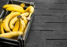 Bananen in de zwarte doos royalty-vrije stock foto's