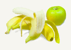 Bananen en appel stock illustratie