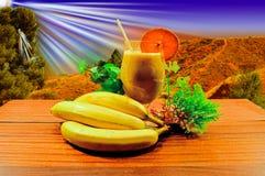 Bananen en banaansap Stock Foto