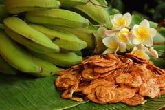 Bananen gå i flisor bananfrukt Arkivbild