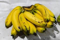 Bananen gelb für Verkaufsnahaufnahmemarkt stockbild