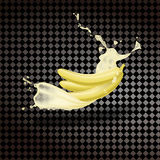 Bananen med mjölkar ny fruktsaft Ny frukt Realistisk vektor på en genomskinlig bakgrund Arkivfoton