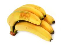 Bananen met streepjescode royalty-vrije stock foto's