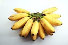 Bananen nannten Dame fingger auf Weiß stockfoto