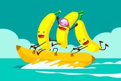 Bananen op banaanboot stock illustratie