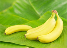 Bananen op bladeren stock afbeeldingen