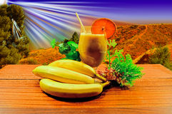 Bananen und Bananensaft Stockfoto
